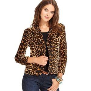 LUCKY BRAND Orange Velvet Leopard Blazer Jacket XS